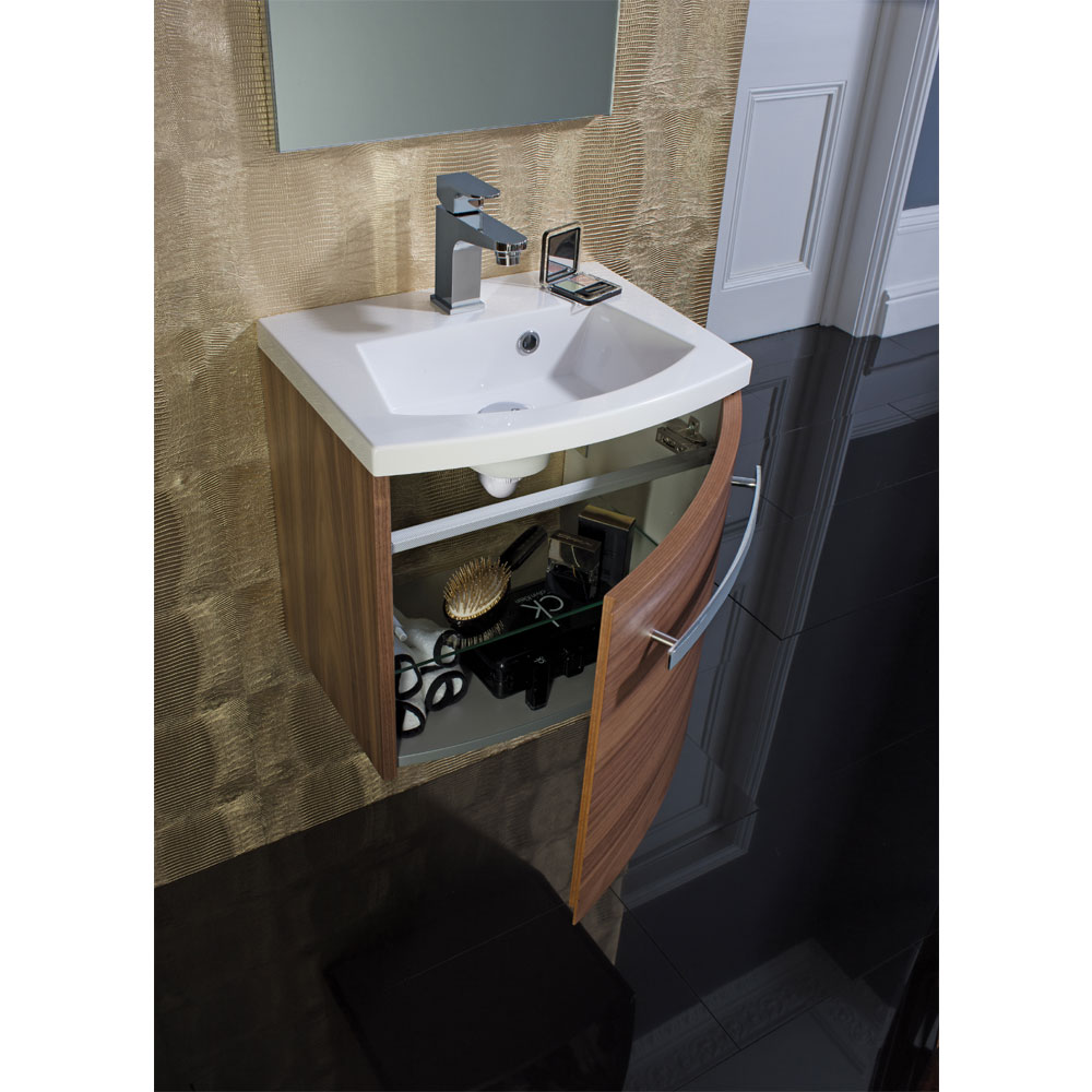 Bauhaus - Stream Wall Hung Vanity Unit with Basin - White Gloss - Various Size Options profile large image view 3