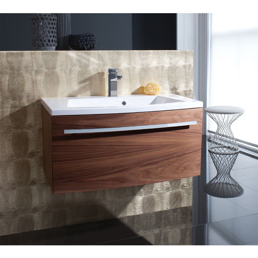 Bauhaus - Stream Wall Hung Vanity Unit with Basin - White Gloss - Various Size Options profile large image view 4