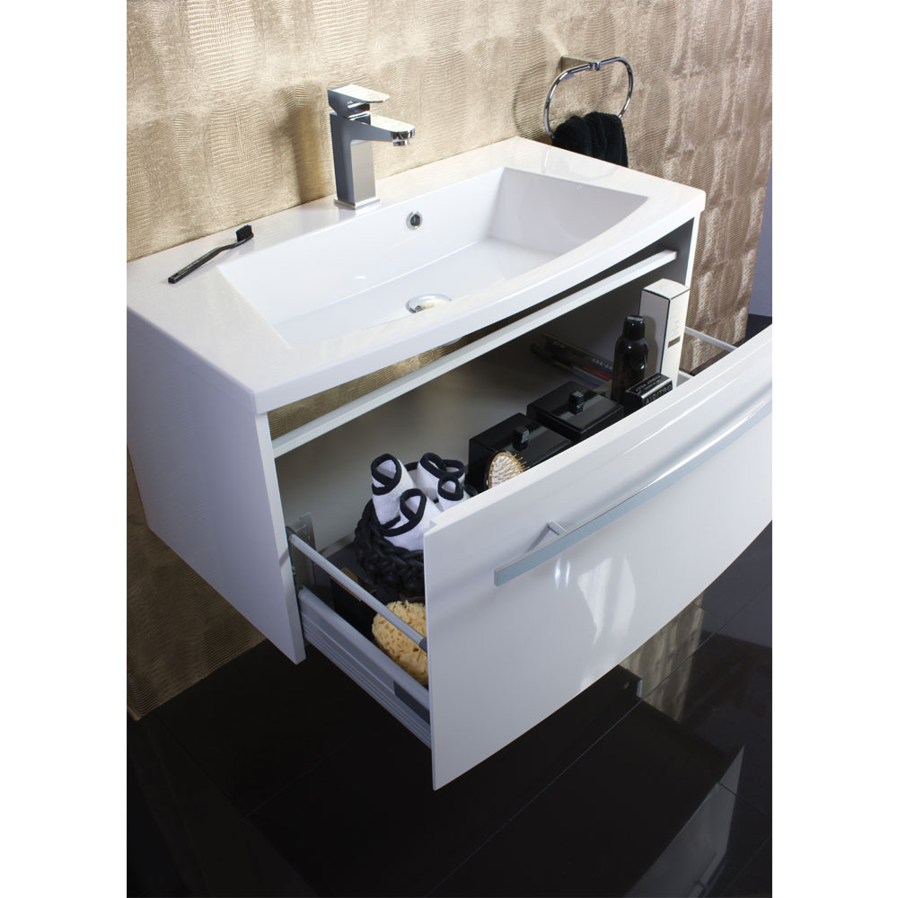Bauhaus - Stream Wall Hung Vanity Unit with Basin - White Gloss - Various Size Options profile large image view 6