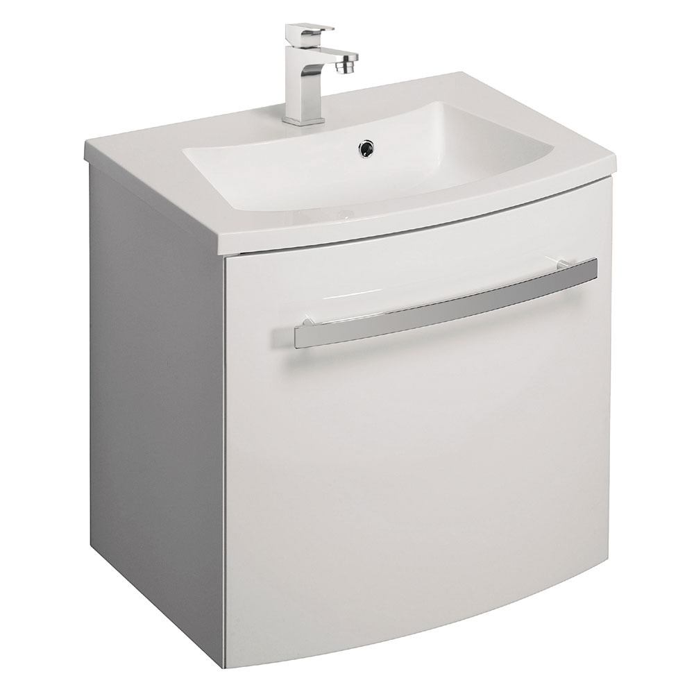 Bauhaus - Stream Wall Hung Vanity Unit with Basin - White Gloss - Various Size Options Large Image