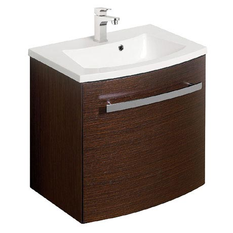 Bauhaus - Stream Wall Hung Vanity Unit with Basin - Wenge - 3 Size Options
