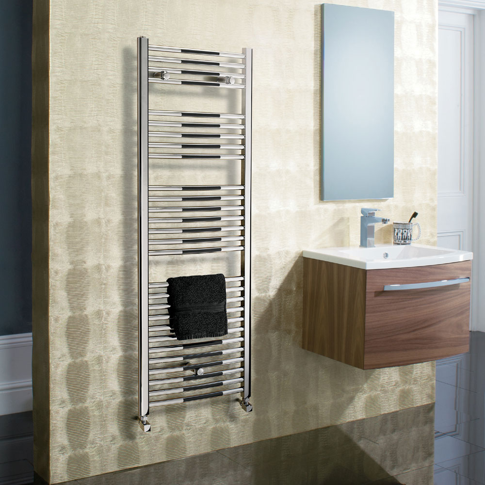 Bauhaus - Stream Curved Panel Towel Rail - Chrome - Various Size Options profile large image view 3