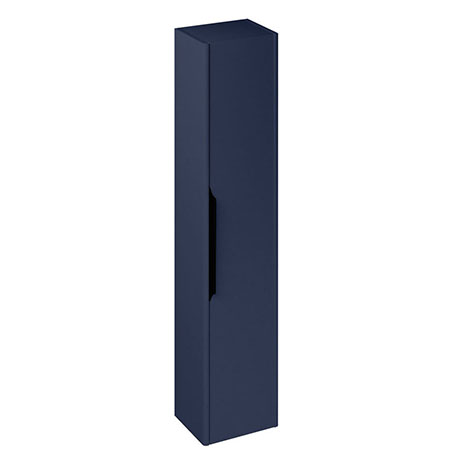 Britton Shoreditch Wall-Hung Tall Cabinet with Black Handle - Matt Blue