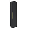 Britton Shoreditch Wall-Hung Tall Cabinet with Brass Handle - Matt Grey profile small image view 1