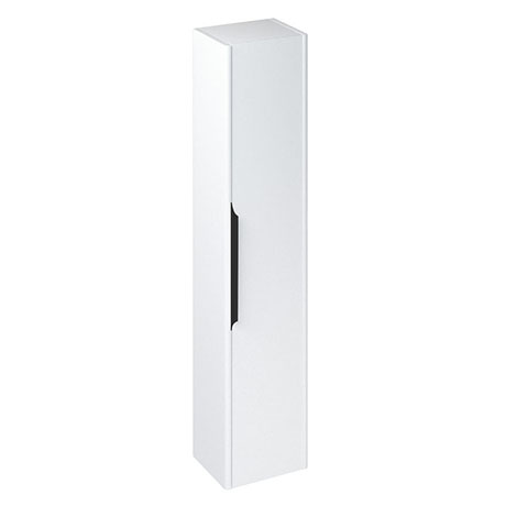 Britton Shoreditch Wall-Hung Tall Cabinet with Black Handle - Matt White