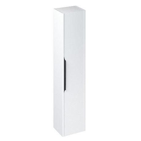 Britton Shoreditch Wall-Hung Tall Cabinet with Black Handle - Matt White