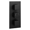Arezzo Square Modern Triple Concealed Shower Valve - Matt Black profile small image view 1