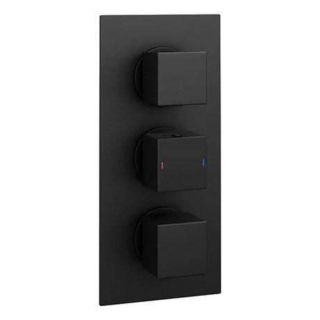 Arezzo Square Modern Triple Concealed Shower Valve - Matt Black