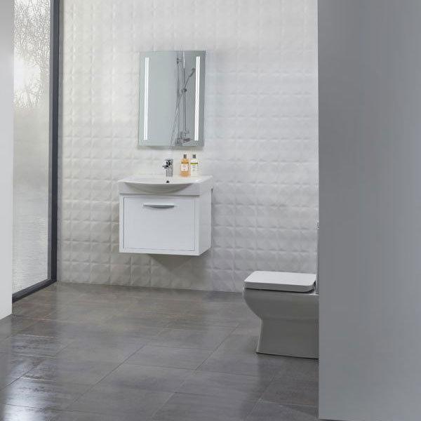 Tavistock Studio 650mm Wall Mounted Unit & Basin - Gloss White profile large image view 3