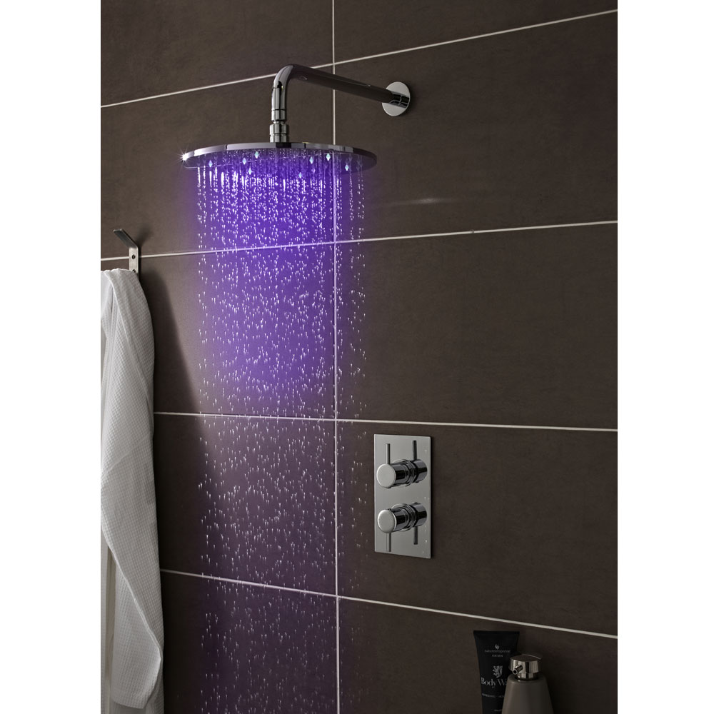 Premier - 200mm Round LED Fixed Shower Head - STY069 Profile Large Image