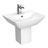 RAK Summit 50cm Basin 1TH with Half Pedestal profile small image view 1