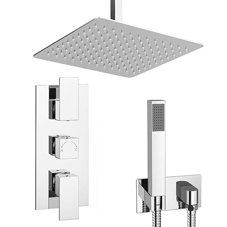 Summit Square Ceiling Mounted Shower Pack With Handset Rainfall Shower Head