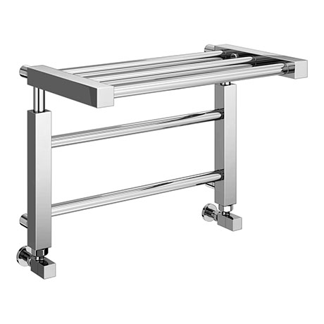 Brooklyn Modern 350 x 500mm Chrome Heated Towel Rail Shelf