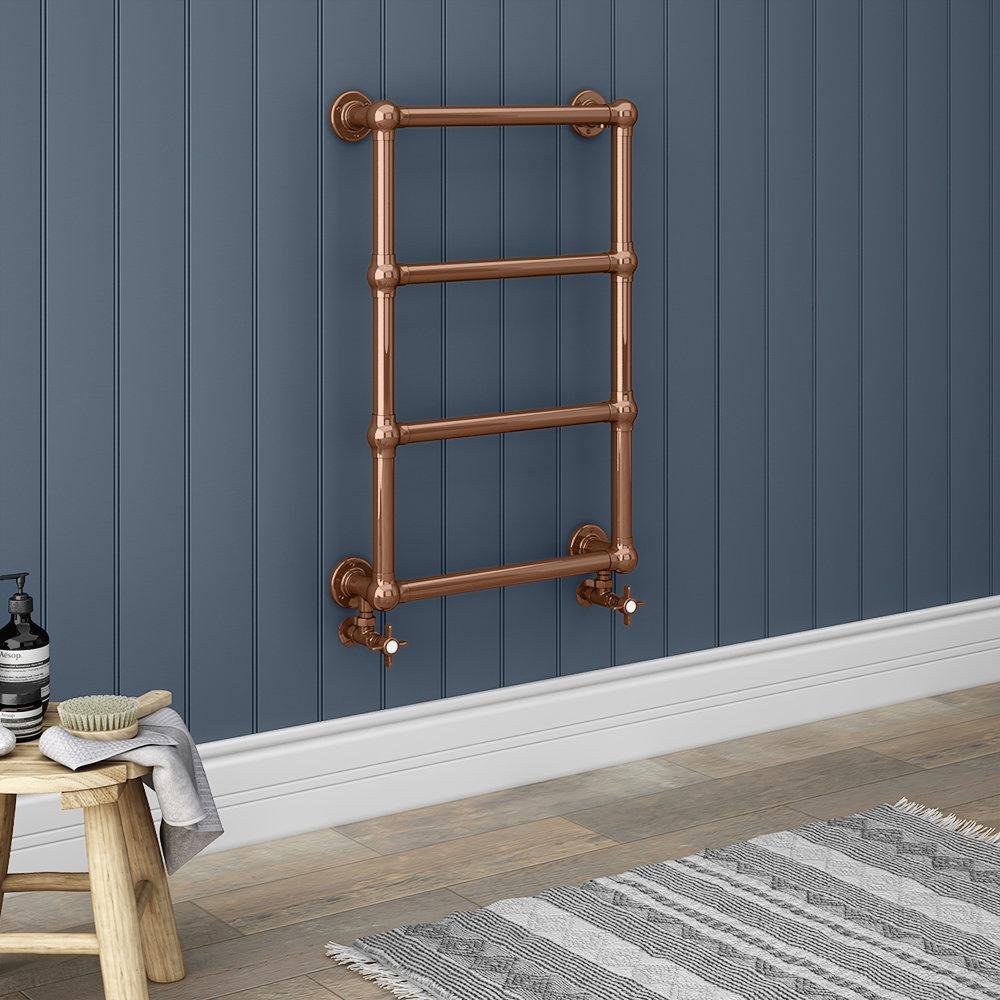 Bloomsbury Copper 498 x 748mm Wall Mounted Towel Rail
