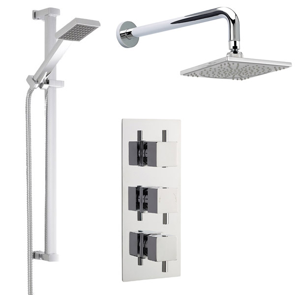 Modern Concealed Shower Valve w/ Slide Rail Kit & Wall Mounted Fixed Head Large Image