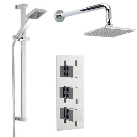Modern Concealed Shower Valve w/ Slide Rail Kit & Wall Mounted Fixed Head