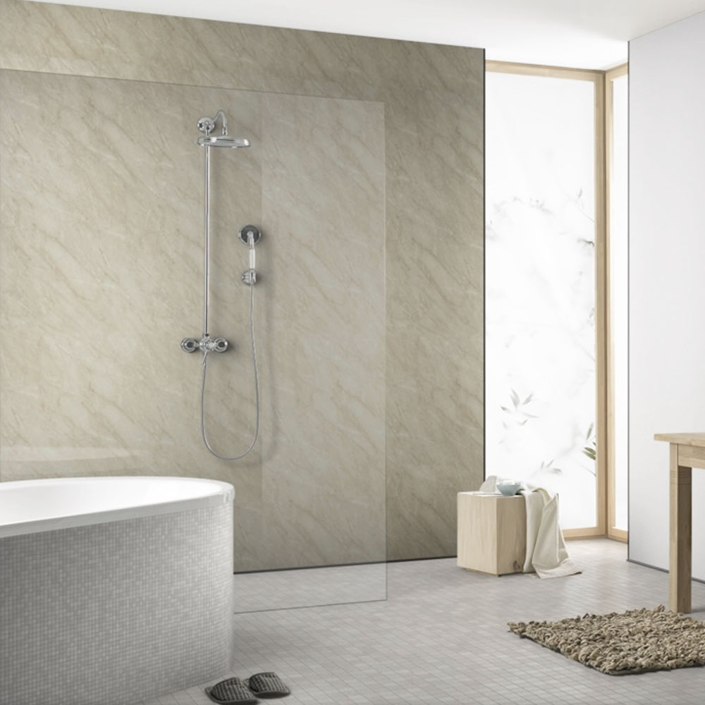 The Showerwall Ivory Marble Waterproof Decorative Wall Panel - Various Size Options - with options to suit wet room ideas for small bathrooms.