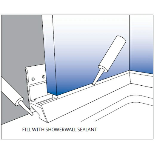 Showerseal Bracket for Showerwall - White PVC - 1.85 MTR Length Large Image