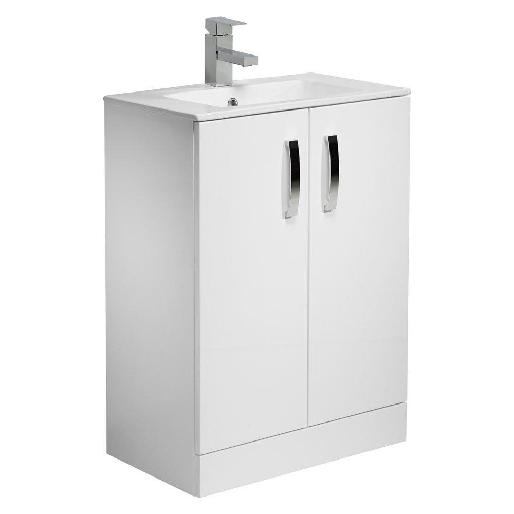Tavistock Swift 600mm Freestanding Unit & Basin - Gloss White Large Image