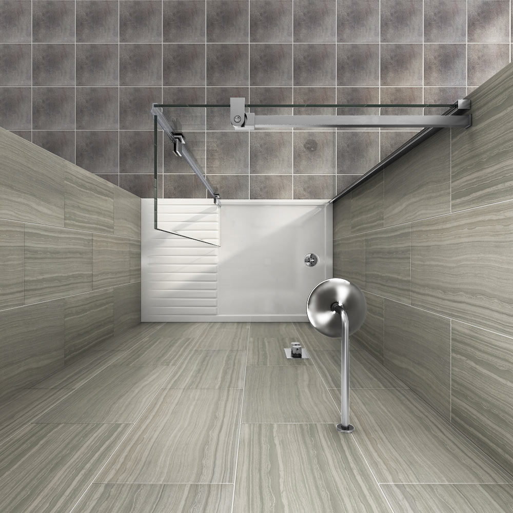 Saturn 8mm Walk In Shower Enclosure - 1400 x 900mm (includes Return Panel + Tray) profile large image view 4
