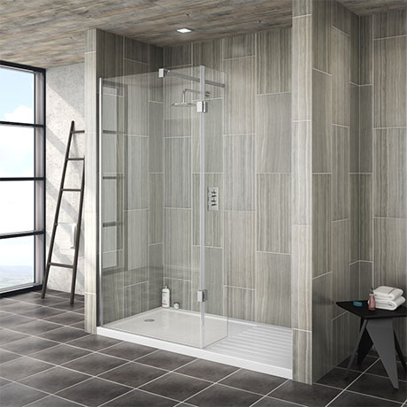 Saturn walk in shower enclosure with hinged return panel for Walk in shower tray