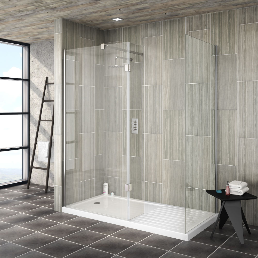 Merveilleux Saturn 8mm (1400 X 900mm) Walk In Shower Enclosure   Includes Side Panel +