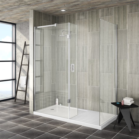 Saturn 8mm Walk In Shower Enclosure - 1600 x 800mm (includes Side Panel & Return Panel + Tray)