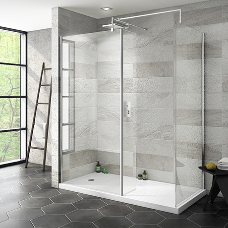 Nova 1600 x 800 Wet Room (Inc. Screen, Side Panel + Return Panel with Tray)
