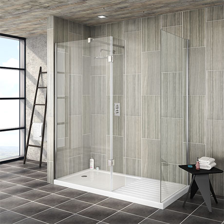 Saturn 8mm (1600 x 800mm) Walk In Shower Enclosure - Includes Side Panel + Return Panel with Tray