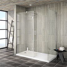 Saturn 8mm (1700 x 800mm) Walk In Shower Enclosure - Includes Side Panel + Return Panel with Tray Me