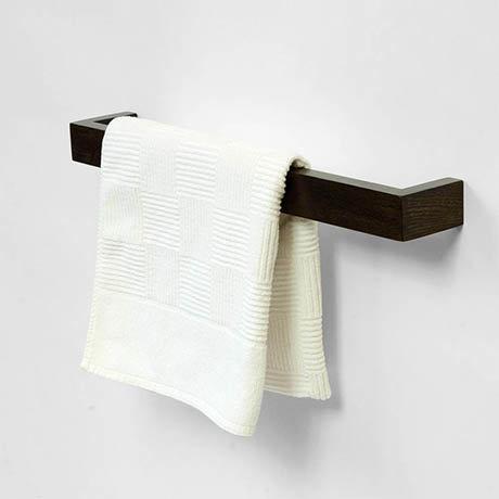 600mm Single Wooden Towel Rail Dark Oak