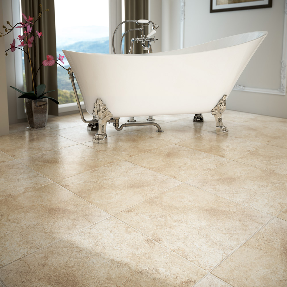Salerno Cream Travertine Effect Floor Tiles - 450mm x 450mm Profile Large Image