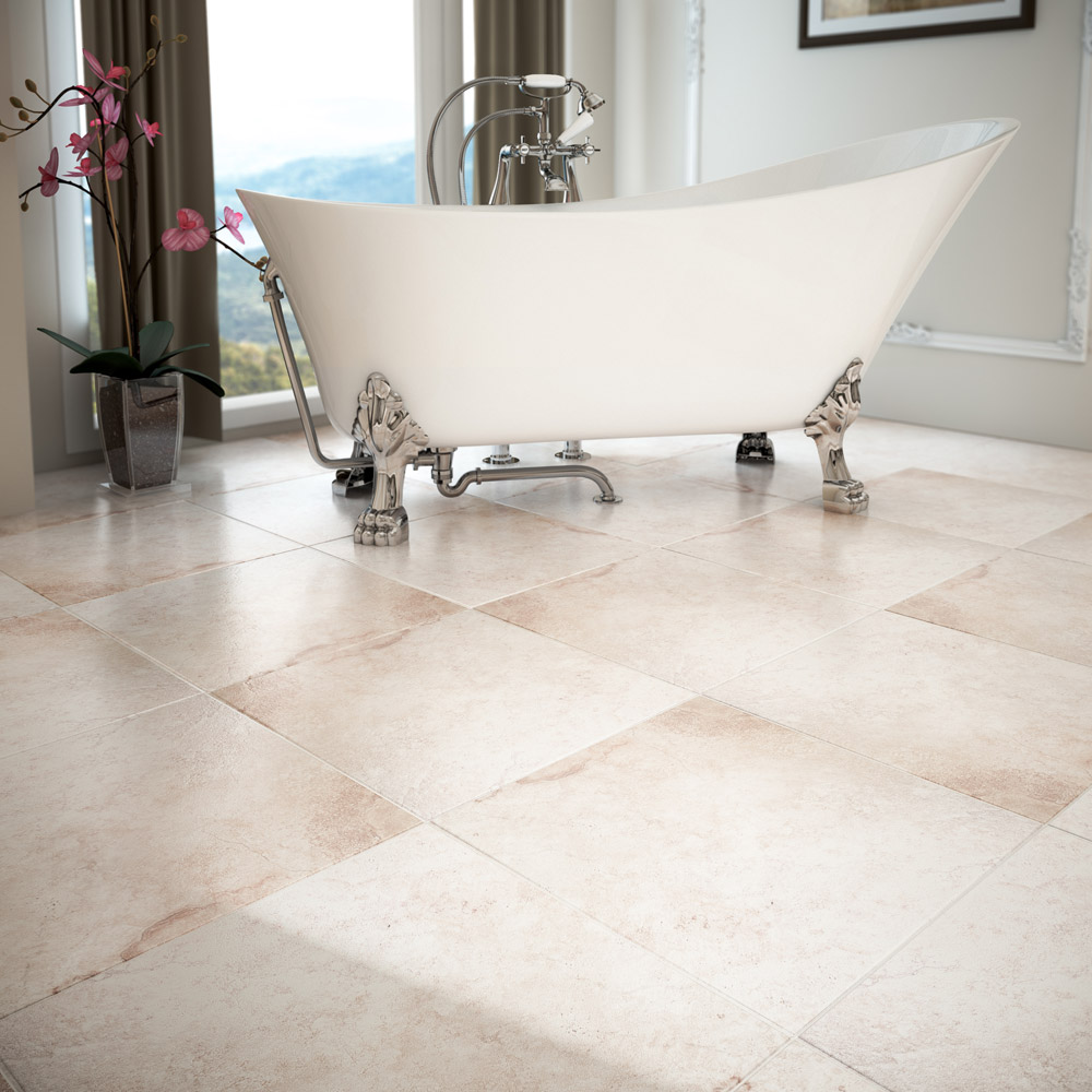 Salerno Ivory Travertine Effect Floor Tiles - 450mm x 450mm Profile Large Image