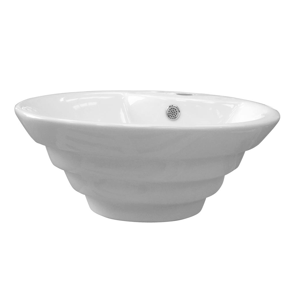 Salerno Round Counter Top Basin - 1 Tap Hole - 480mm profile large image view 1