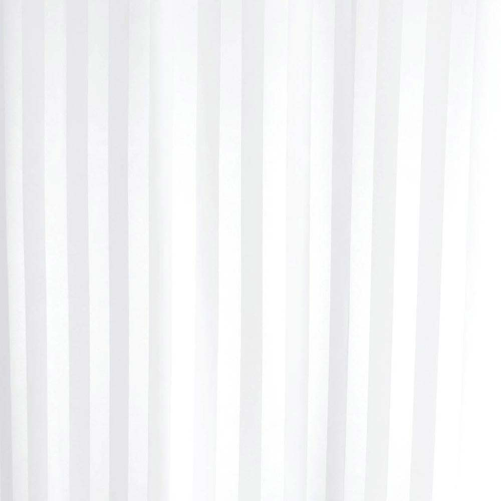 Satin Stripe Shower Curtain W1800 x H1800mm with Curtain Rings - White - 69110 Large Image