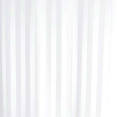 Satin Stripe Shower Curtain W1800 x H1800mm with Curtain Rings - White - 69110