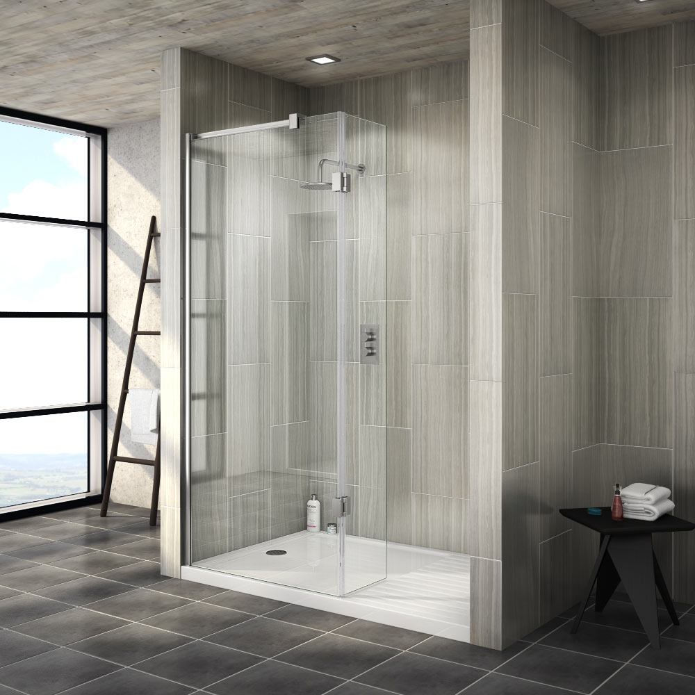 Saturn 8mm Walk In Shower Enclosure - 1400 x 900mm (includes Return Panel + Tray) profile large image view 1