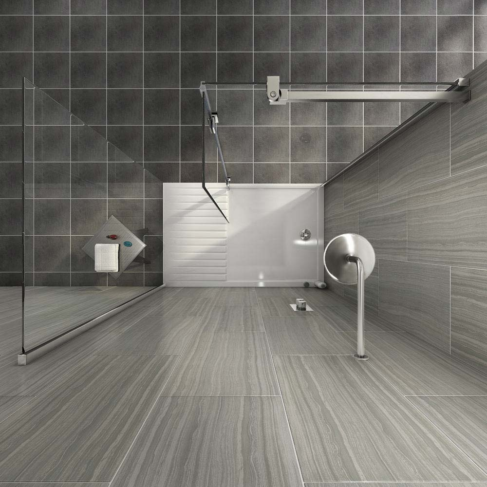 Saturn 8mm Walk In Shower Enclosure - 1400 x 900mm (includes Side Panel & Return Panel + Tray) profile large image view 4