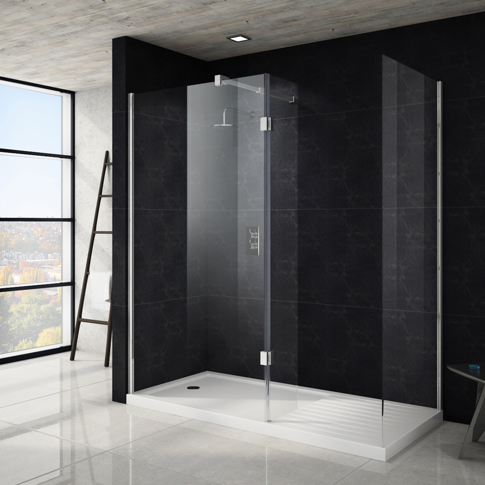 Saturn 8mm Walk In Shower Enclosure - 1700 x 800mm (includes Side Panel & Return Panel + Tray) Large Image
