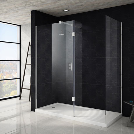 Saturn 8mm Walk In Shower Enclosure - 1700 x 800mm (includes Side Panel & Return Panel + Tray)