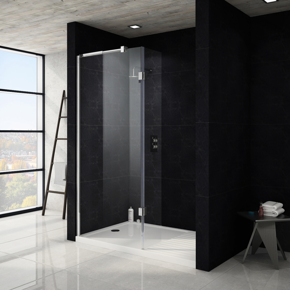 Saturn 8mm Walk In Luxury Shower Enclosure - 1600 x 800mm (inc Return Panel + Tray) Large Image