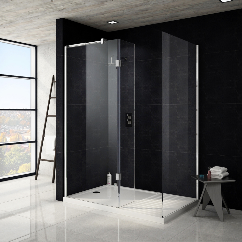 Saturn 8mm Walk In Shower Enclosure - 1600 x 800mm (includes Side Panel & Return Panel + Tray) Large Image