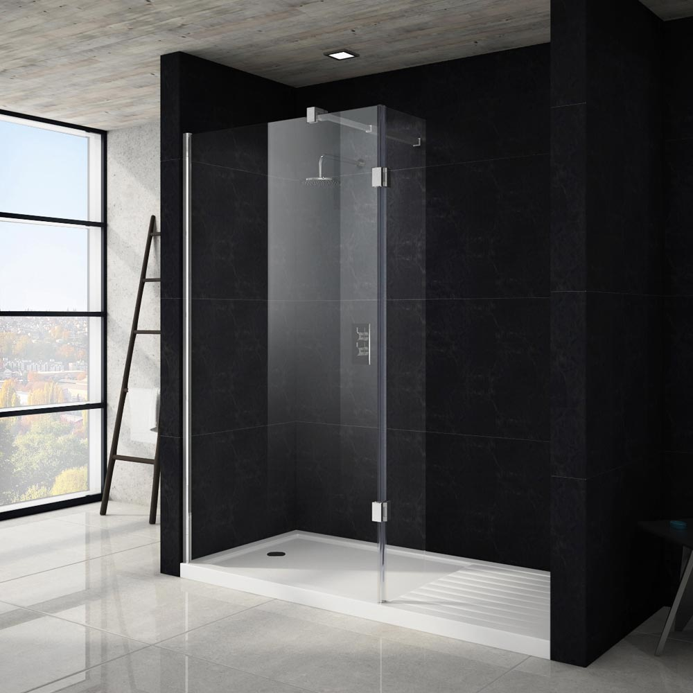 Apollo Walk In Shower Tray With Drying Area - 1700 x 800mm - 1700-WIT - Image of wet room walk in shower with a white shower tray