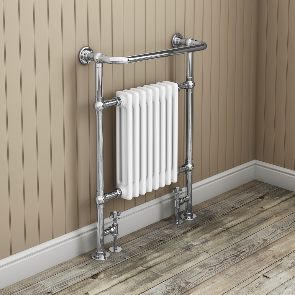 Savoy Traditional Radiator with Crosshead Valves - MTY022-KES - Positioned against a stunning beige panelled bathroom wall