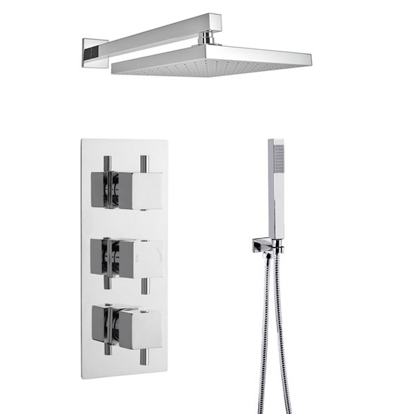 Ultra Series L Triple Thermostatic Valve with Square Shower Head + Handset Large Image
