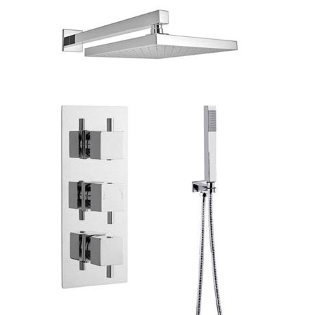 Ultra Series L Triple Thermostatic Valve with Square Shower Head + Handset