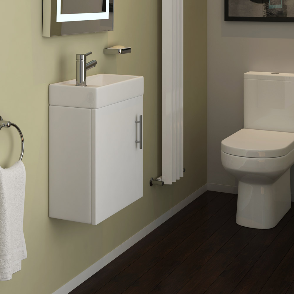 Milan Modern Wall Hung Basin Vanity Unit - Gloss White (W400 x D222mm) profile large image view 2