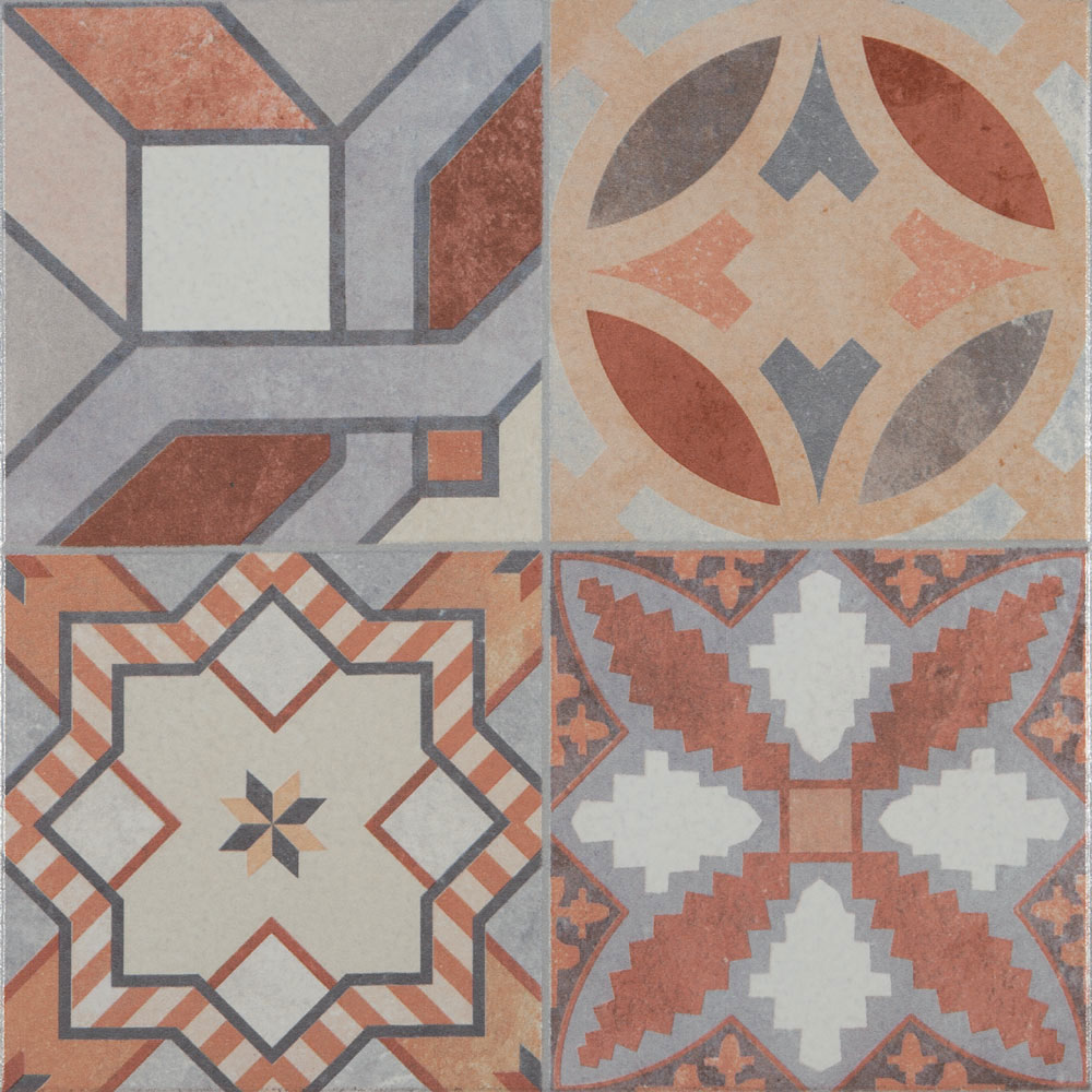 Seville Patterned Wall and Floor Tiles - 333 x 333mm  In Bathroom Large Image