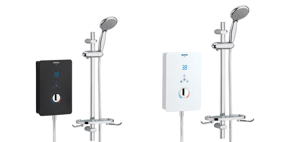 Black and white electric showers