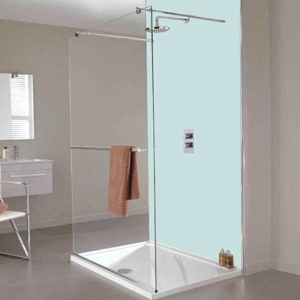 Showerwall - Waterproof Decorative Wall Panel - Aqua Ice - 4 Size Options - Close up image of aqua colour shower wall panels